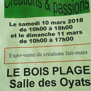 Salon Créations & Passions le 10 et 11 mars 2018