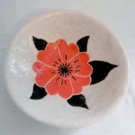 Vide poche blanc, motif coquelicot rouge et noir