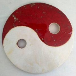Dessous de plat Ying et Yang rouge et blanc