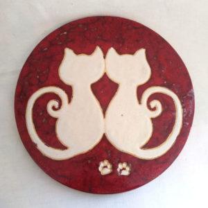 Dessous de plat duo de chats rouge et blanc