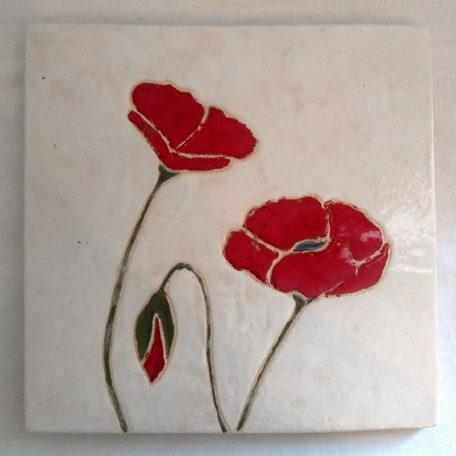 Dessous de plat Carré blanc coquelicots rouges