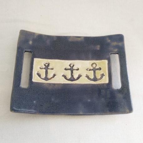 Porte savon Bleu ancres marines